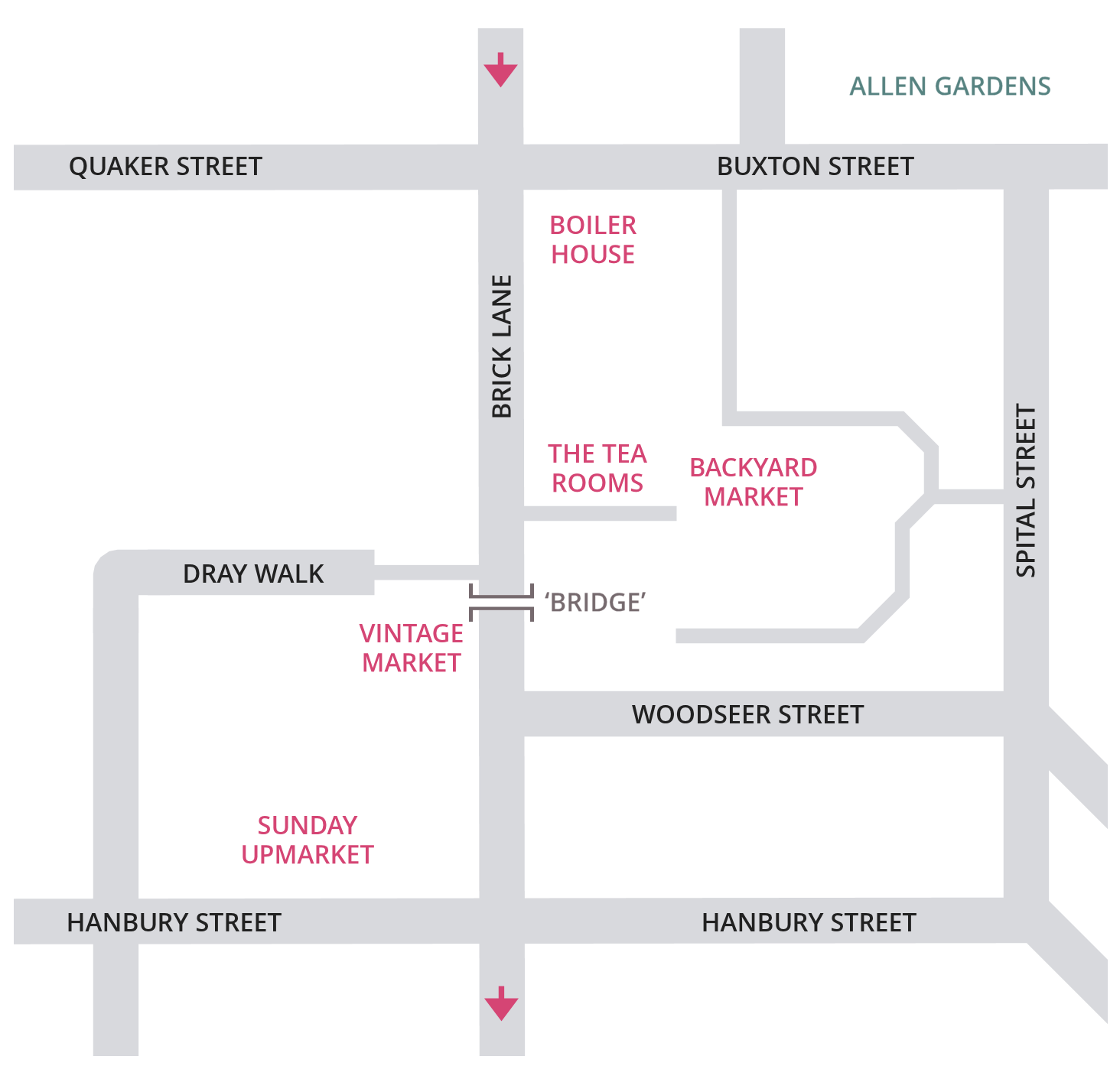 My London Walks: diagrammatic map of the Truman markets
